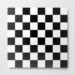 Contemporary Black & White Gingham Pattern Metal Print
