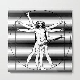 Vitruvian man - Les Paul guitar playing D-Chord (version with strips) Metal Print