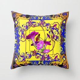 Decorative Blue Yellow Pink Purple Vining Flowers Art Throw Pillow