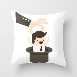 Pulling An Employee Magic Hat Trick Throw Pillow