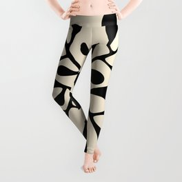 Matisse Inspired Abstract Cut Outs black Leggings