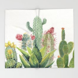 Cactus Watercolor Throw Blanket