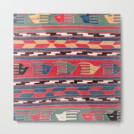 Southwestern Nomad III // 18th Century Colorful Red Blue Green Yellow Shapes and Bands Pattern Metal Print
