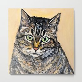 Tabby Cat Painting Metal Print