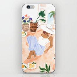 Woman Sitting by the Window Art Print - Sabina Fenn Illustration - Feminine Gouache Tropical Portrai iPhone Skin