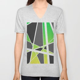 Triangles Stripes Mikado Design Geometric green yellow Unisex V-Neck