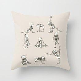 Skeleton Yoga Throw Pillow