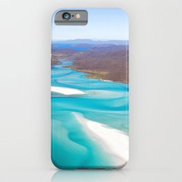 Aerial view from hill inlet in Whiteheaven beach, Whitsunday island, Queensland, Australia iPhone Case