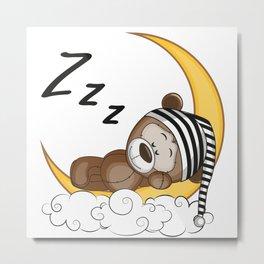 Sleeping Teddy Bear Metal Print