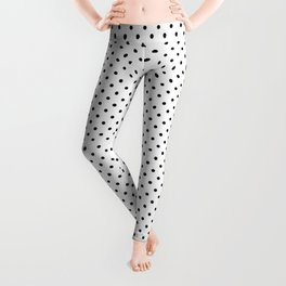 Small Black Polkadots Spots On White Background Leggings