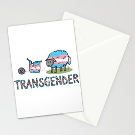 Cute transgender fluffy sheep cartoon vector illustration motif set. Stationery Cards