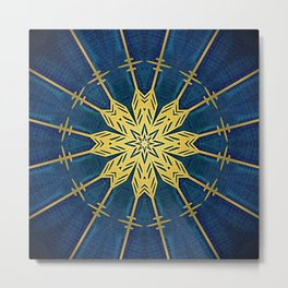 Navy Blue and Brushed Gold Flower Metal Print