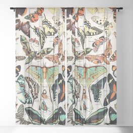 Adolphe Millot - Papillons pour tous - French vintage poster Sheer Curtain