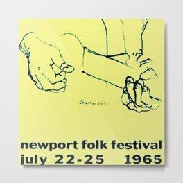 Vintage 1965 Newport, R.I. Folk Festival Advertisement Poster Metal Print