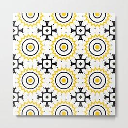 The Sun Moroccan Tiles Pattern Yellow Metal Print