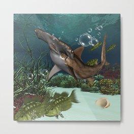 Awesome hammerhead in the deep ocean Metal Print