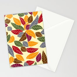 Falling Autumn Leaf Pattern Stationery Cards