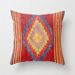 Karapinar Antique Turkish Kilim Rug Print Throw Pillow