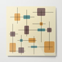 Rounded Rectangles And Squares Gold Brown Teal Metal Print