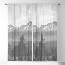 Morning in the Mountains Black and White Sheer Curtain
