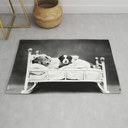 Mother dog and puppy in bed Rug