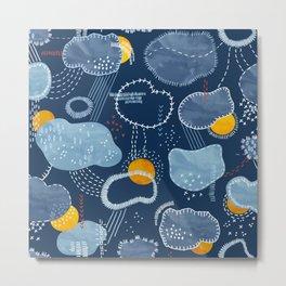 Sashiko Spring Clouds Pattern Metal Print