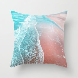 Sea Blue + Rose Gold Throw Pillow