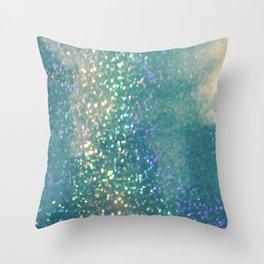 Blue glimmer Throw Pillow