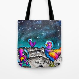 Space Chickens Tote Bag
