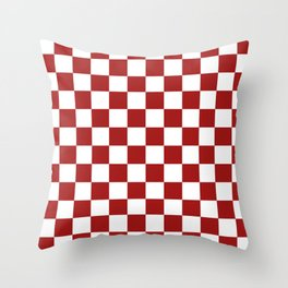 Cranberry Red and White Checkerboard Pattern Throw Pillow