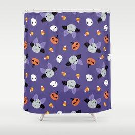 Purple Kawaii Halloween Bat Pattern Shower Curtain