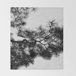 Pine Tree Black & White Throw Blanket