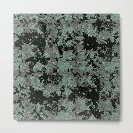 Silver Frost, Green and Black Ice Abstract Pattern Metal Print