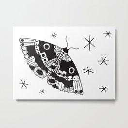 Night Moth / Black & White Metal Print