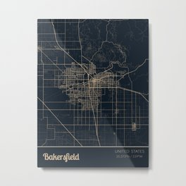 Bakersfield United States City Map Metal Print