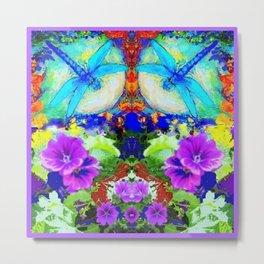 Purple Flowers with Flirting Blue Dragonflies Western Art Metal Print