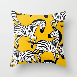 Zebras Yellow Throw Pillow