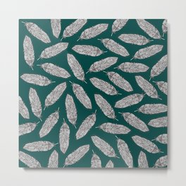 Feathers Pattern green Metal Print