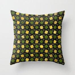 Irish Shamrock Four-leaf clover  Gold black Throw Pillow