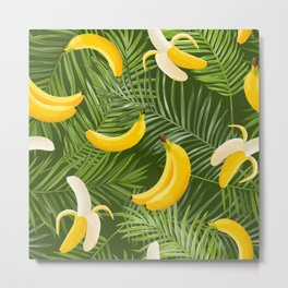 Tropical Bananas And Palm Leaves Metal Print