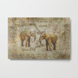Spirit of Africa Elephant mixed media art Metal Print