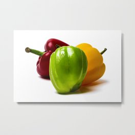 Three Bell Peppers Against The White Background. Green Pepper To The Front Metal Print