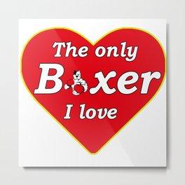 boxer dog lover heart Metal Print