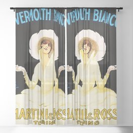 Vintage Martini and Rossi Vermouth Bianco Lithograph Advertising Wall Art. Sheer Curtain