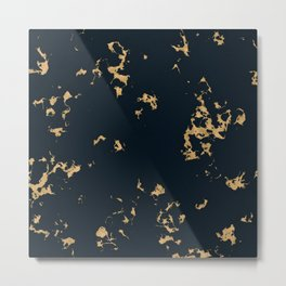 Black Marble with Gold Foil Metal Print