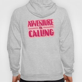Adventure Is Calling Hand Lettered Camping Quote in Pink Hoody