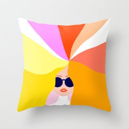 Girl Power - Rainbow Hair #girlpower Throw Pillow