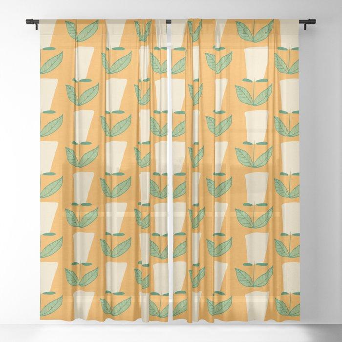 Retro Botanical Mid century Tulip Yellow Sheer Curtain