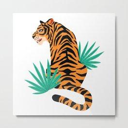 Tiger with leaves Metal Print