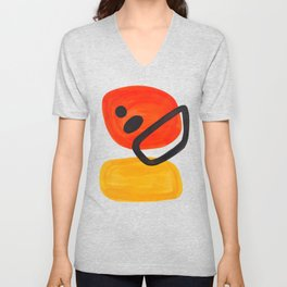 Midcentury Modern Colorful Abstract Pop Art Space Age Fun Bright Orange Yellow Colors Minimalist Unisex V-Neck